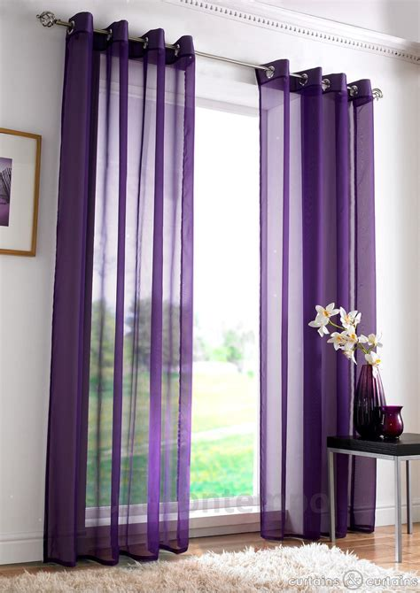 Purple Curtains Purple Eyelet Ring Top Voile Net Curtain Panel Voiles