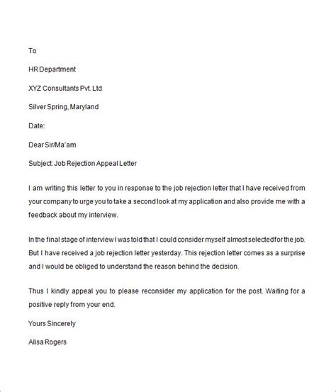 Rejection Letter Prior To Rejection Letter 6 Free Doc
