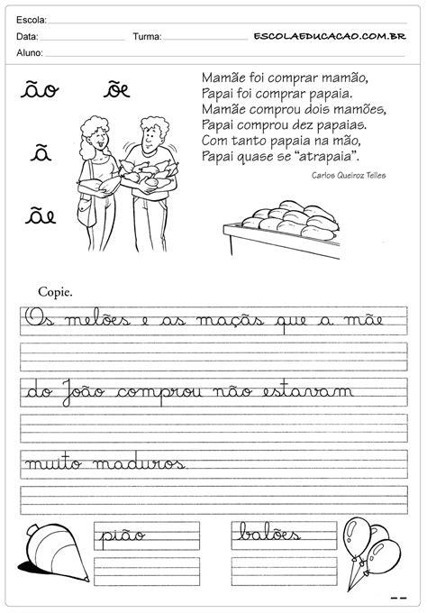 Atividade de caligrafia ao ae oe - Escola Educação