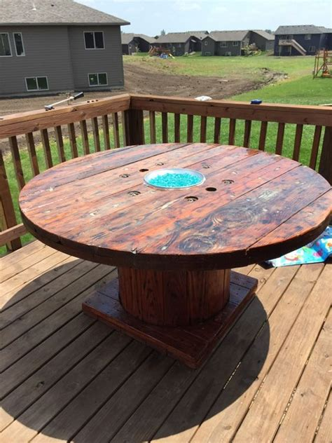 diy gas pit table diy rustic wooden spool gas pit table glass that glows in the follow the steps
