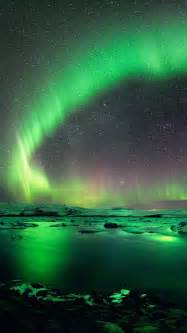 Northern Lights Landscaping Landscape Sky Green Iphone 5 Wallpapers Backgrounds 640 X 1136 Nature