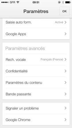 Vider le cache du navigateur mobile Chrome (Google) sur iPhone