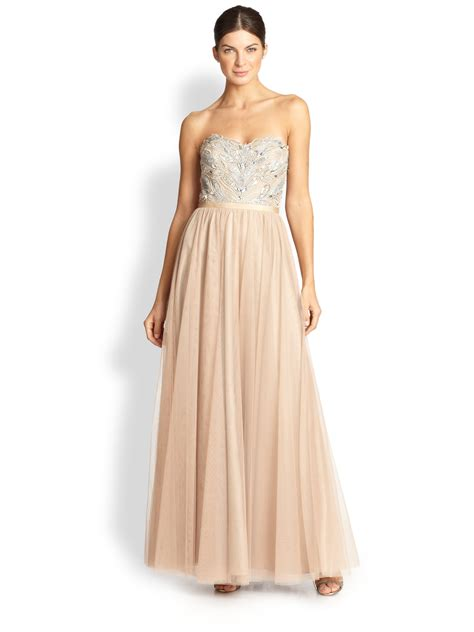 beaded gown aidan mattox strapless beaded tulle gown in gold lyst