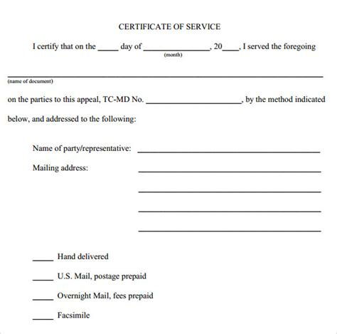 certificate of service template free certificate of service template 8 free documents in pdf word