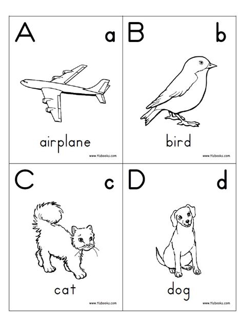 printable alphabet book alphabet flash cards
