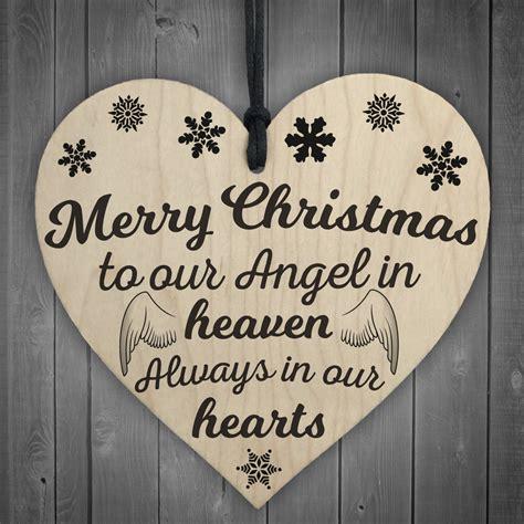 merry christmas angel heaven wooden heart memorial plaque