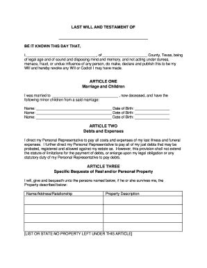Last Will Texas Fill Online Printable Fillable Blank Pdffiller Last Will And Testament Template Maryland Free