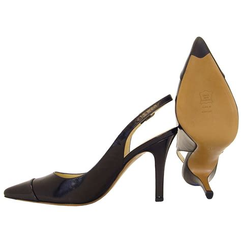 Back Heels kaiser dona slingback heels black patent and leather mozimo