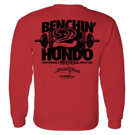 bench press shirt for sale 200 pound bench press club long sleeve t shirt