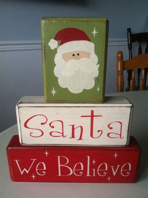 believe holiday decoration santa we believe stacking wood blocks distressed primitive rustic
