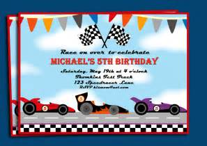 race cars invitation printable or printed with free shipping