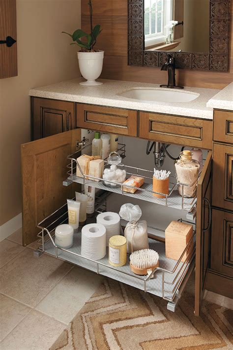 bathroom vanity organizers ideas the unique u shape of this sink base cabinet slide out