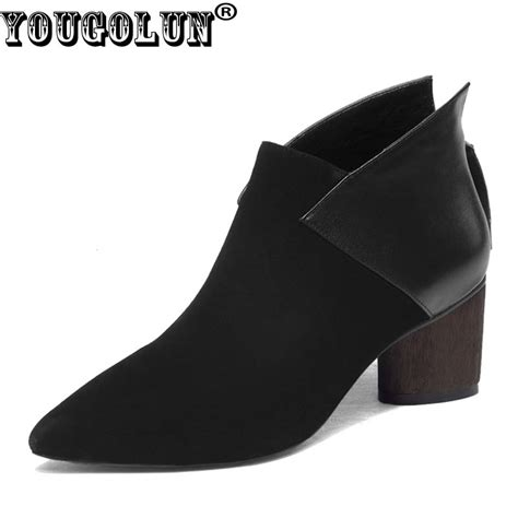 Leather Wedges Shoes 9 Cm 299 yougolun ankle boots cow suede leather 2017 autumn thick heel 6 cm high heels black wine