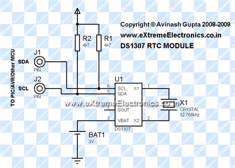 ds1307 circuit diagram interfacing ds1307 rtc chip with avr microcontroller