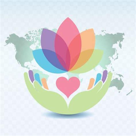 hands holding  heart  lotus flower illustration
