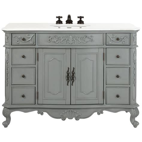 Home Decorators Bathroom Home Decorators Collection Winslow 48 In W Bath Vanity In Antique Grey With Marble Vanity Top
