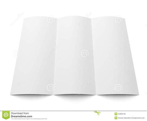 leaflet blank tri fold white paper brochure stock photo