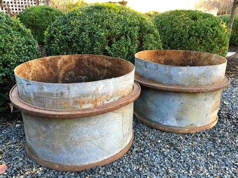 Planter Tubs by Four Pairs Of Industrial Iron Planter Tubs At 1stdibs