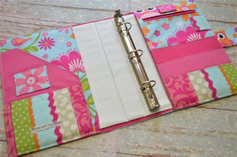 Binder Kulit Owl Pink 20 Ring 3 ring binder cover in aqua and pink owl fabric h2
