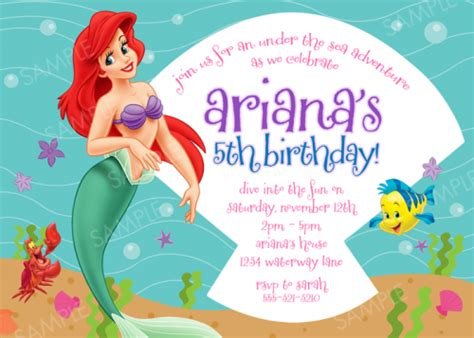 printable birthday invitations ariel ariel mermaid birthday cake ideas and designs