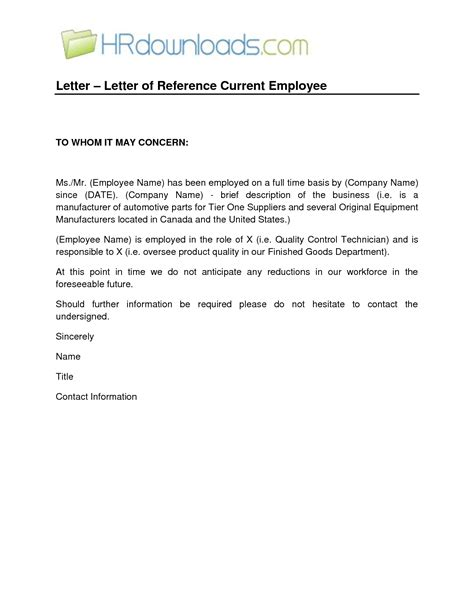 Character Reference Letter Sle For Employee employer letter of recommendation 6 sle employer