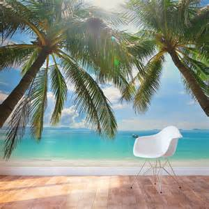 tropical beach paradise wall mural secluded beach peel amp stick wall mural