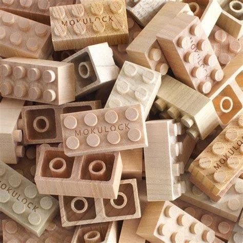 Handmade Bricks Australia - mokulock wooden bricks by new tech shinsei white rabbit