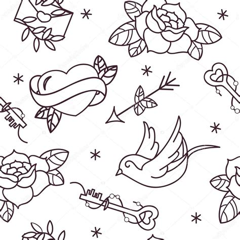 old tattoo vector seamless pattern with roses