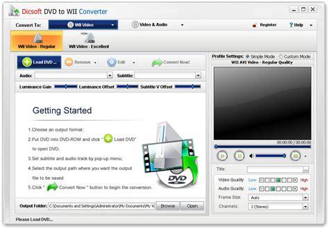 format dvd wii dicsoft dvd to wii converter shareware version 3 5 0 2 by