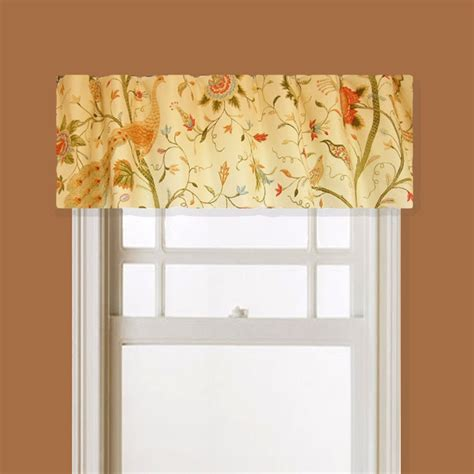 Fabric Window Valances Lined Window Valance Peacock Bird Floral Fabric Pale