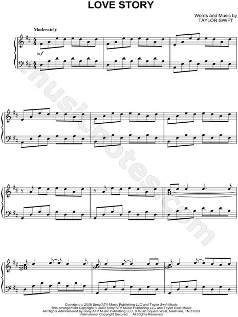 theme song love story taylor swift quot love story quot sheet music piano solo in d
