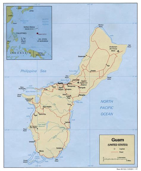printable road map of guam large detailed political map of guam with roads cities