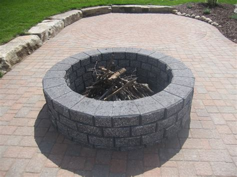 pit made out of pavers split n stack charcoal color brick pit pits