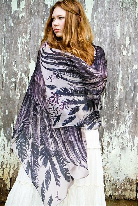 Feather Scarf In Violet With Box Exclusive 1000 images about silk scarf sarong on