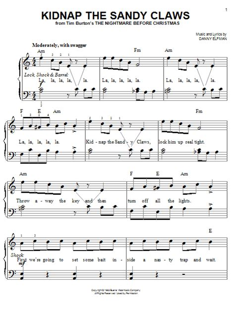 danny elfman kidnap the sandy claws kidnap the sandy claws sheet music by danny elfman easy