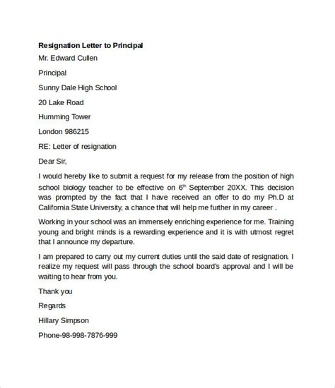 Resignation Letter Of A To The Principal Sle Resignation Letter Exle 10 Free Documents In Word Pdf