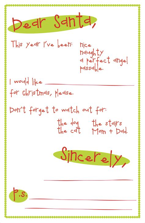printable letter to santa format letter to santa printable template search results