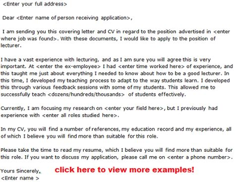 lecturer cover letter lecturer application letter exles learnist org