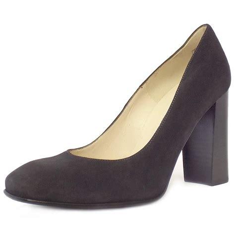 Block Heel Shoes kaiser block heel court shoes in grey suede