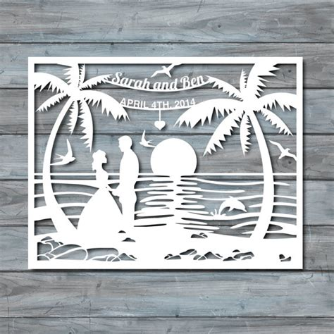 beach wedding paper cut template paper cut templates by