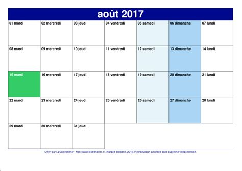 Calendrier 8 Aout Map Calendrier Ao 251 T 2017