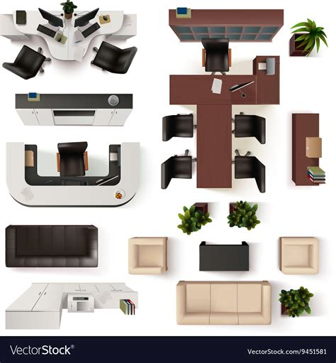 top office furniture and office office interior elements top view set royalty free vector