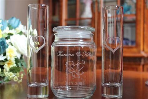 Pouring Vases For Sand Ceremony by 3 Personalized Engraved Unity Sand Ceremony Set 2