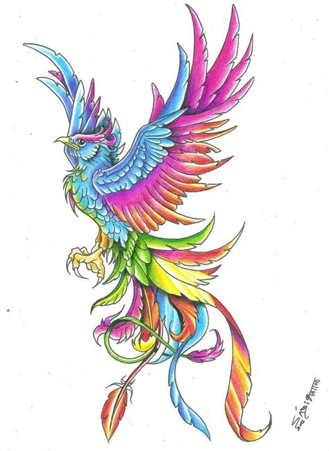 awesome rainbow colored rising phoenix tattoo design