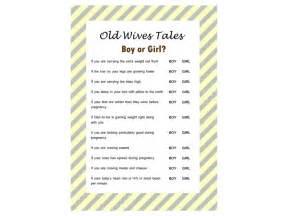 Old wives tales gender reveal games magical printable