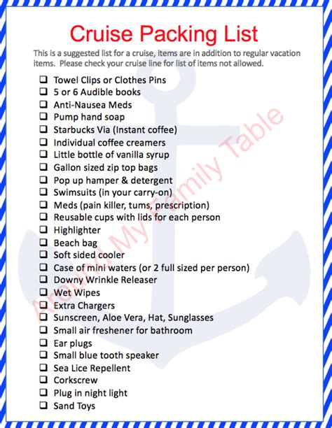 printable cruise travel checklist packing tips for a cruise around my family table