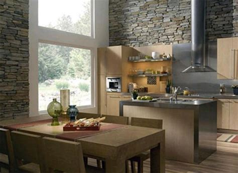 Decoration Ideas For Kitchen Walls by Kitchen Interior Stone Walls Plushemisphere