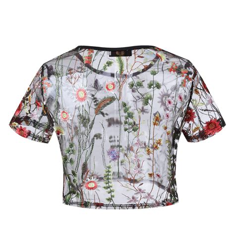 Floral Embroidered Top womens floral mesh sheer embroidered floral see through