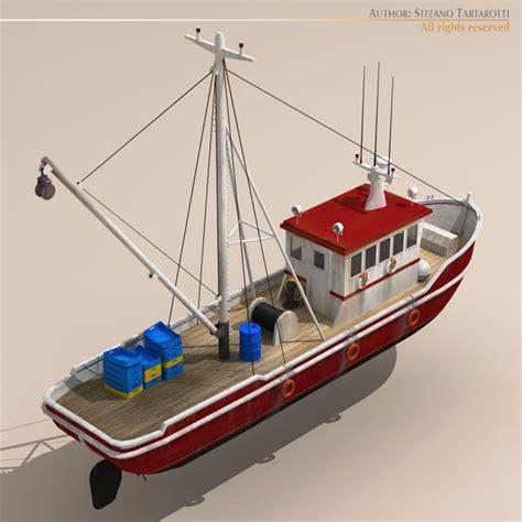 cartoon boat 3d model fishing boat 3d model