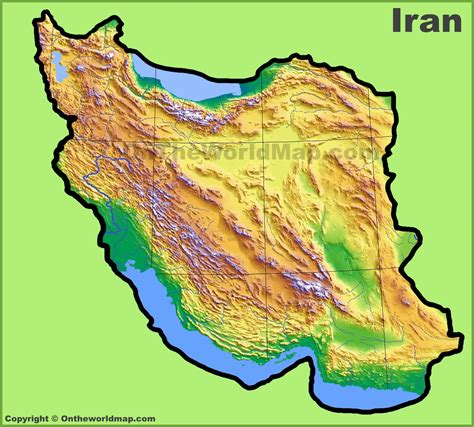 geographical map of iran iran physical map